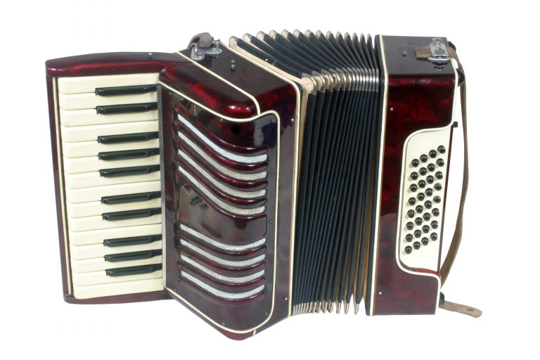 Small student accordion. isolated on white background, clipping path included